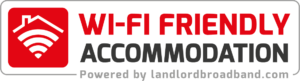 Wi-Fi Friendly Accommodation logo, unlimited student Wi-Fi, Best Wi-Fi for students