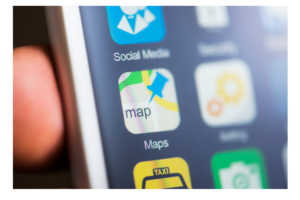 A phone screen focused on the Maps icon to indicate the need for internet and gps access
